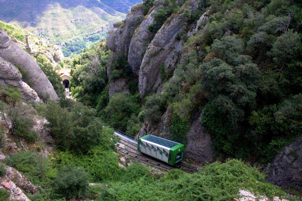 Santa Cova funicular railway, Montserrat in Spain