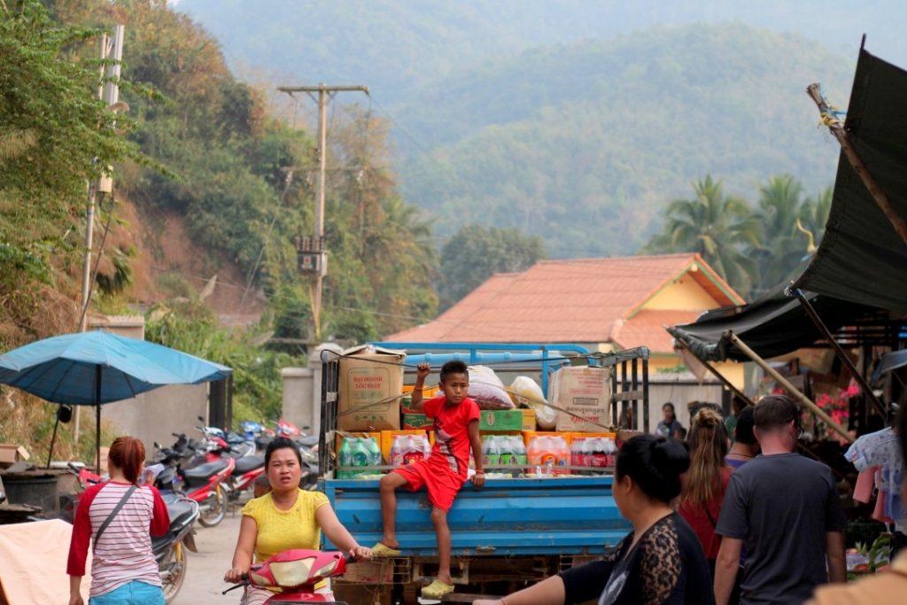 Slow boat overnight stop at Pakbeng