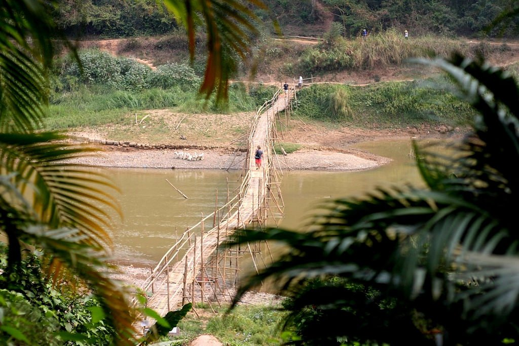 Bamboo bridge in Luang Prabang - UNESCO World Heritage Site, Laos