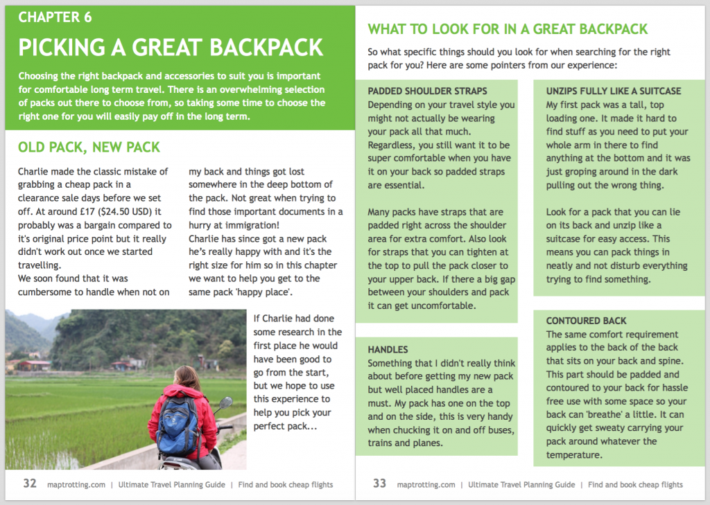 sample page of our free travel planning ebook