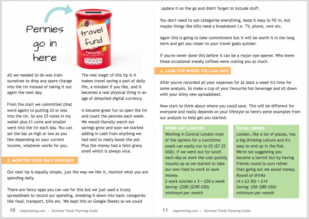 saving money page of the free travel planning ebook