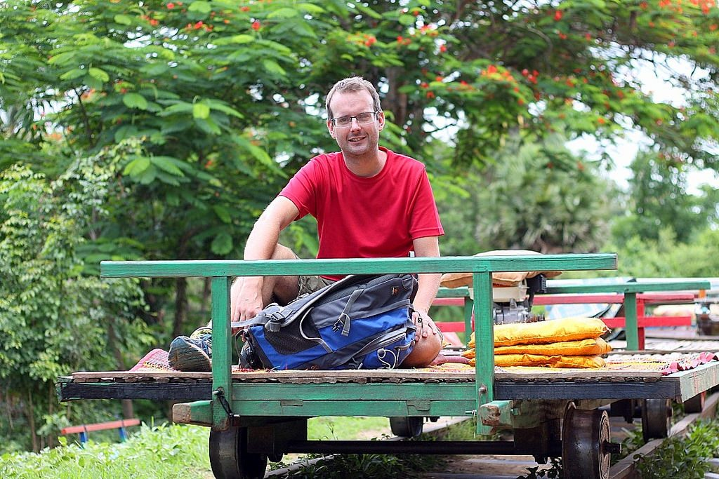 battambang, charlie on bamboo train, cambodia