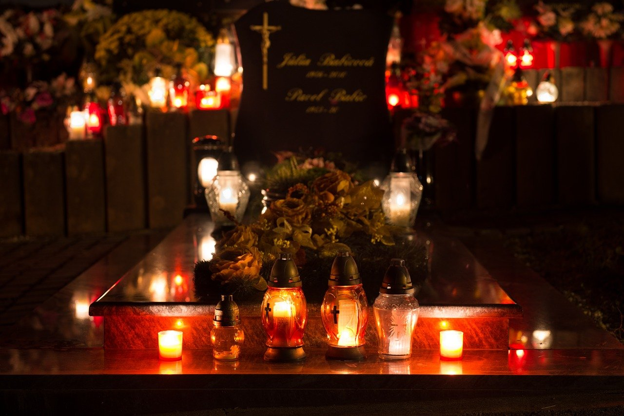 All Saints Day - candle lit cemetery