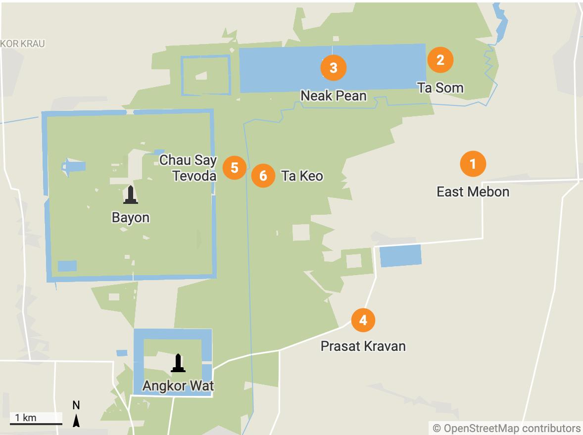 Angkor grand circuit small temples map