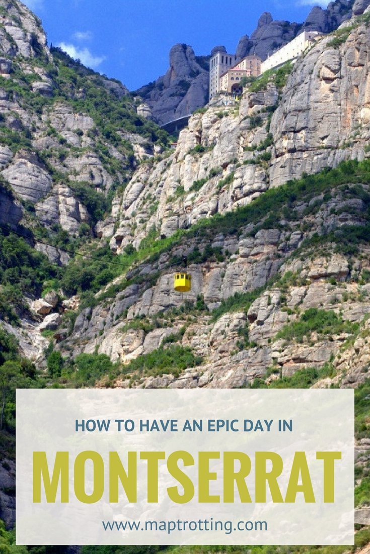 A tiny yellow cable car is soaring sky high towards the famous monastery perched atop the glorious jagged peaks of Montserrat in Spain.