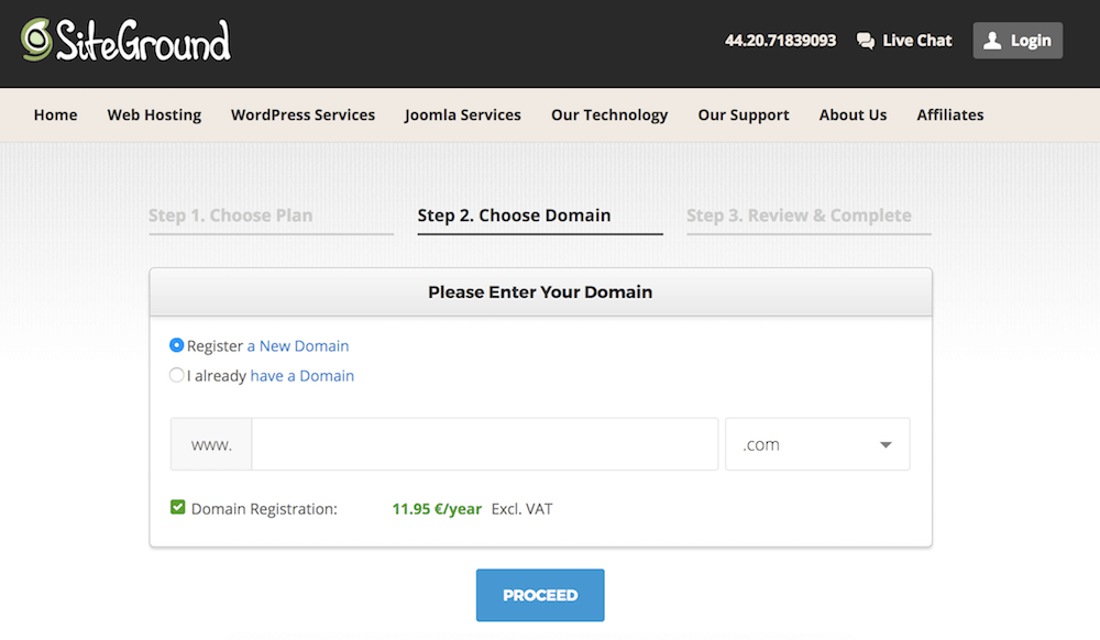 Siteground domain purchase screen