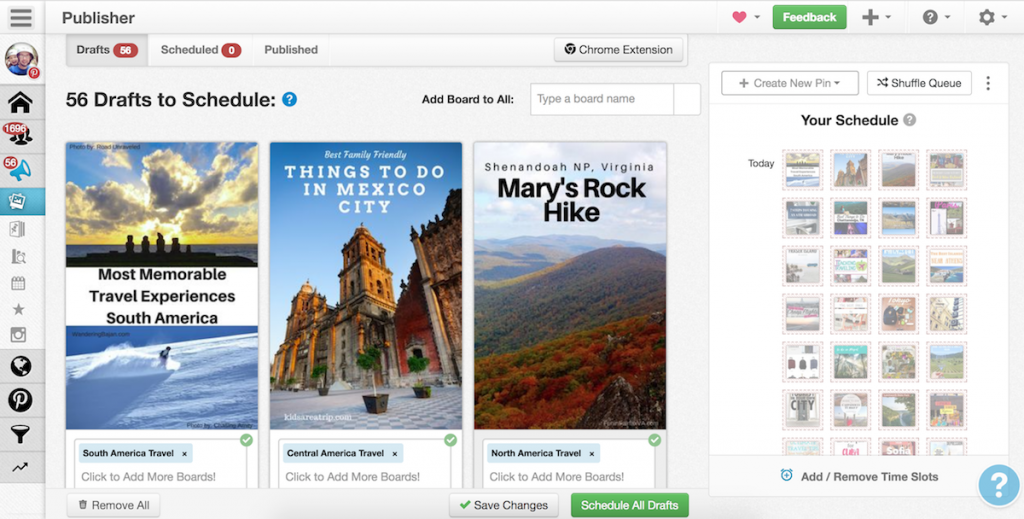 Pinterest guide for travel bloggers, tailwind scheduler