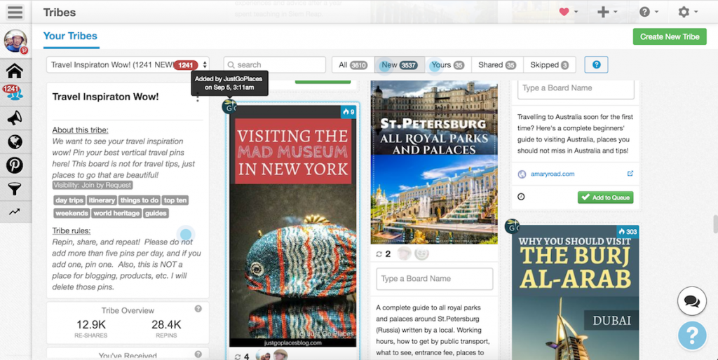 Pinterest guide for travel bloggers, tailwind tribes