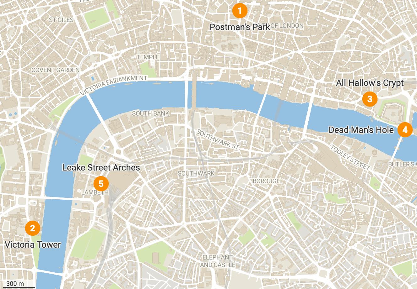 London Hidden Gems map