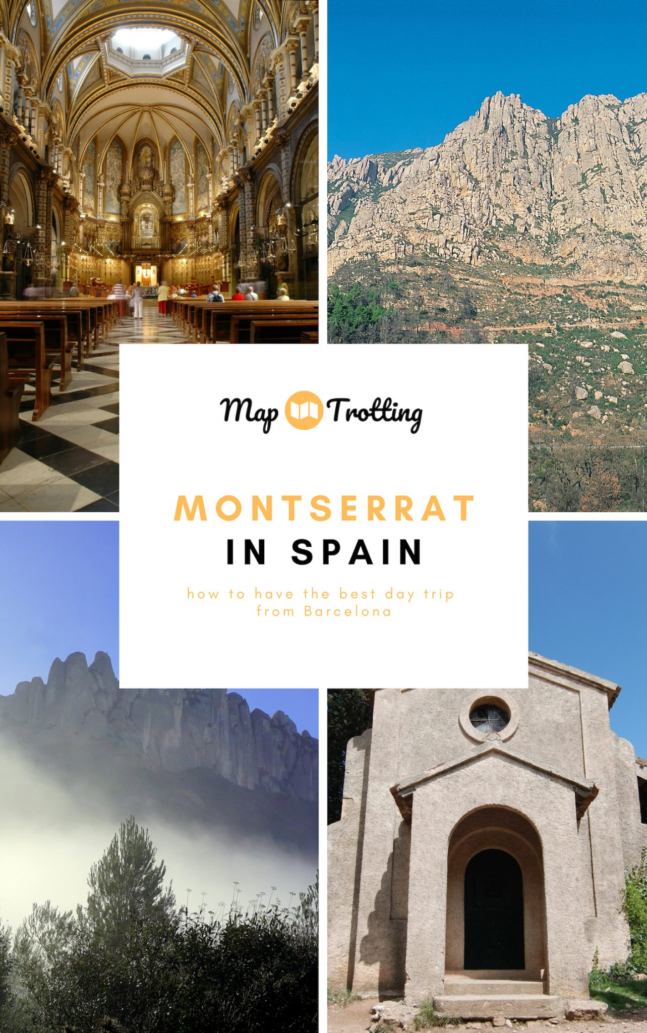 Sights of Montserrat in Spain: The golden interior of Santa Maria de Montserrat Abbey, a chapel and misty peaks of Montserrat