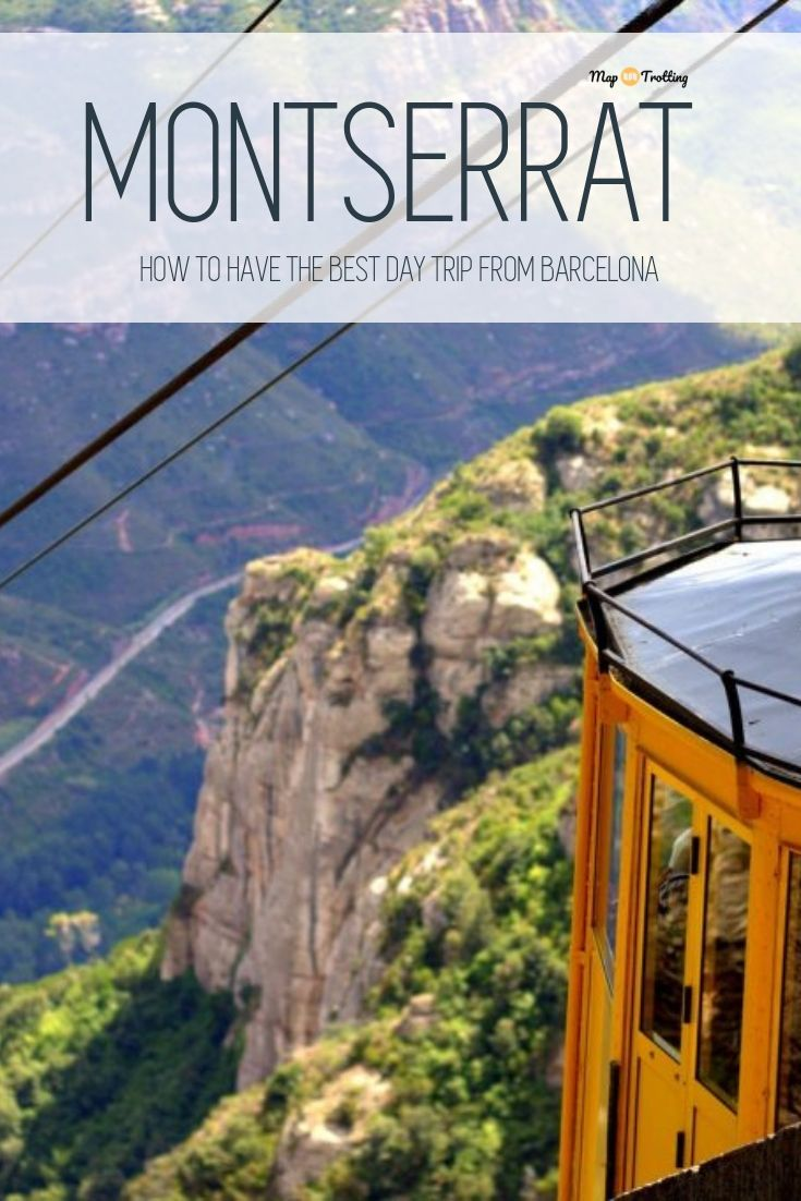 A yellow cable car is high in the air, crossing the scenic valley all the way to the rocky peaks of Montserrat in Spain.