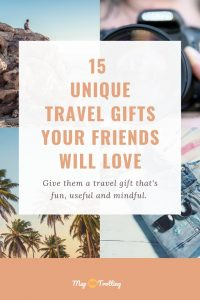 A Pinterest pin to help you buy unique travel gifts for your travel loving friends.